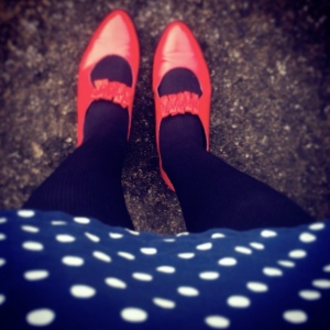 Polka dots & red shoes