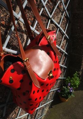 Red polka dot bag