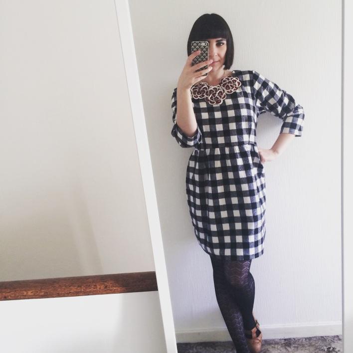 Gingham monochrome dress